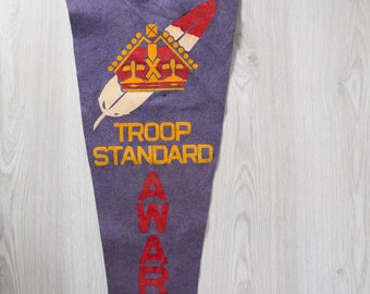 Large Vintage Toronto Pennant / 1950's Felt Souvenir Hanging Triangle Shaped Camping Tree Theme Wall Decor / Troop Standard 1950