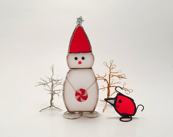 Stained Glass Snowman (Freestanding or Hanging)