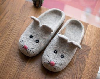 Birthday gift for her, Felt slippers Mouse shoes, Mouse slippers, House Shoes Wool slippers Felted slippers Funny slippers wool slippers,