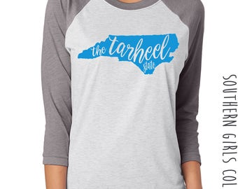 Tarheel State Raglan Shirt - State of North Carolina Graphic Tee - Graphic Unisex Shirt - Tarheel TShirt - Southern Girls Collection