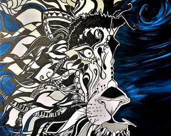 """Acrylic Mixed media, """"In the Midst"""" Lion, Original Art"""