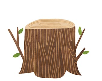 Tree Stump Watercolor Wall Decals - Stump Fabric Wall Decals