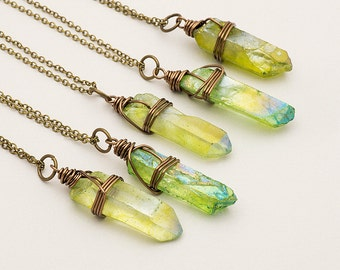 Gift for her Green Aura Quartz Necklace Bronze Raw Crystal Necklace Rough Quartz Point Crystal Pendant Boho Gemstone Layer Necklace