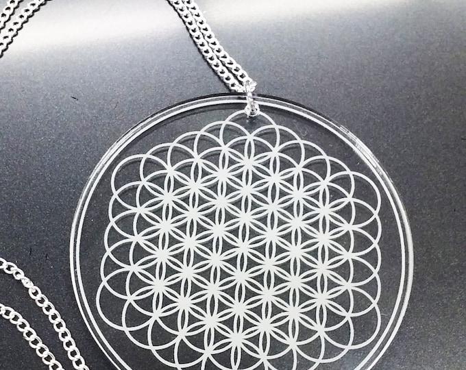 Sempiternal Sacred Geometry Necklace | Laser Cut Jewelry | Acrylic Jewelry | Handmade Necklace