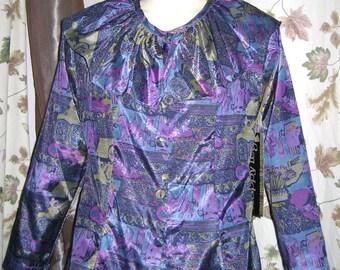 70s Vintage Blouse Jewel Tone M Vintage