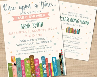 Book Baby Shower Invitation, Baby Shower Invitation, Library Baby Shower, Book Worm Invite, Library Party, Build A Library, Book Work Party