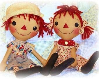 Primitive Doll pattern, Girl or Boy, Raggedy Ann and Andy, PDF sewing pattern, Rag Doll Pattern, Annie pattern