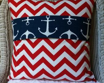 SALE ONE LEFT Reversible Anchor Chevron Throw Pillow Cushion Cover Color Block Pillow Accent Cushion One 18 x18  Pillow Bedding Sham Cushion