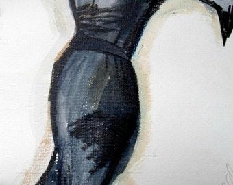 """Black Dress, Fashion Print, Wall Art, Printable Download, 8.5"""" x 11"""" PDF, Fashion Art, Printable Art"""