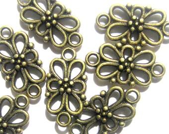 10 Tibetan Style connector Pendants Antique  jewelry findings bronze links 16mm x 8mm 5094-nf-SR8-4