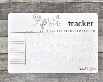 Bullet journal sticker, habit tracker, monthly tracker, planner sticker, monthly planning, April tracker