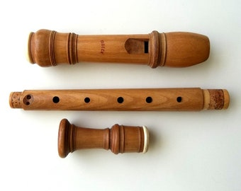 Vintage Moeck Rottenburgh 339 Alto Recorder in Plumwood with ivory rings
