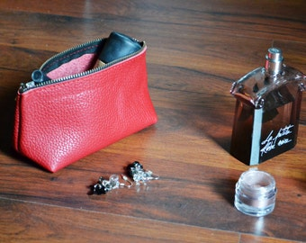 LEATHER POUCH, Leather Clutch, Leather Toiletry Bag, Small Leather Bag, Leather Makeup Bag, Leather Cosmetic Bag, Clutch, Leather Purse