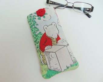 Handmade Glasses Case, made with vintage Rupert Bear Fabric Sunglasses Case, Cover or Pouch