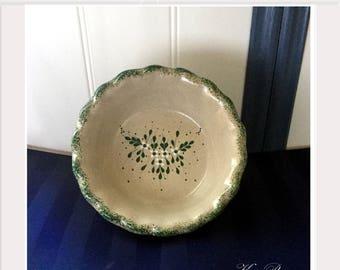 Stoneware Pie Dish Signed