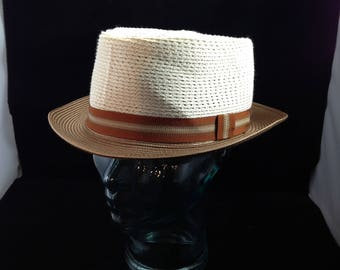 Vintage Stetson Pork Pie Style Straw Hat 2-Tone Color Size 7 1/2 or 60cm   01618
