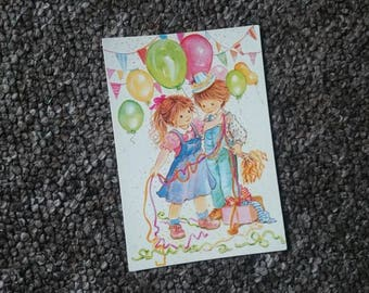 Vintage postcard | retro, card, 70's, unwritten, collectors item, party card, illustration, gift