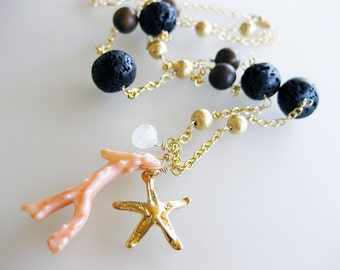 ON SALE - Mermaid - Gold, Coral, and Lava Bead handmade necklace