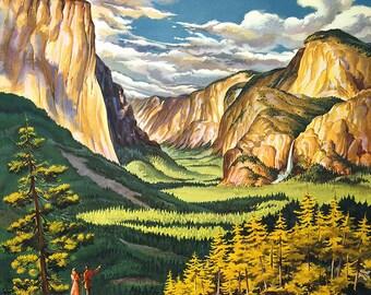 Yosemite. Vintage USA Travel/Tourism Print/Poster