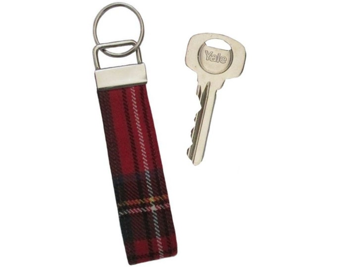 Royal Stewart Tartan Pure Wool Keyring on Chunky Silver Fob