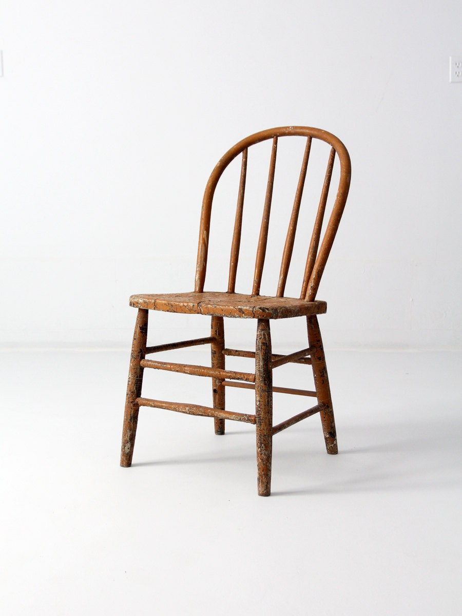 🔎zoom - Antique Primitive Spindle Back Chair