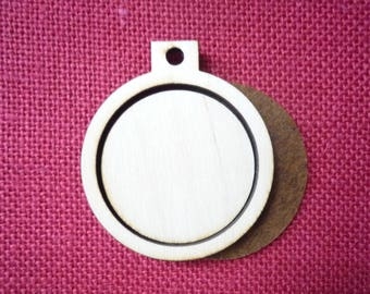 """Wooden Mini Embroidery hoop for Necklaces or pendants - 2"""" size"""