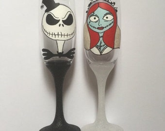 Hand painted glasses x2