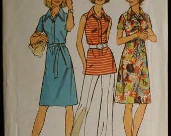 Simplicity 5506 Misses Dress or Tunic Vintage 70s Sewing Pattern Sz 16