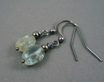 Moss Aquamarine  Earrings on Gun Metal French Wires Handmade Earrings