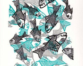 Fish Print, from original Gocco Print 11x14