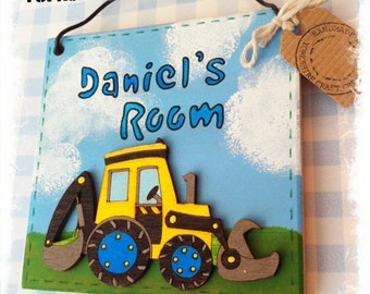 Digger Door Name Sign, Wooden Boys Bedroom or Playroom Plaque Personalised