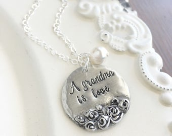 Grandmothers Necklace . Mother Necklace . Mothers Day . Gift For Grandma . Nana . Handmade Jewelry . Custom Jewelry . Pewter Jewelry .