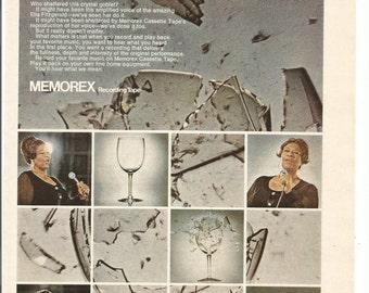 1973 Advertisement Ella Fitzgerald Memorex Cassette Tapes Celebrity Endorsement 70s Shattered Glass Is It Live Wall Art Decor