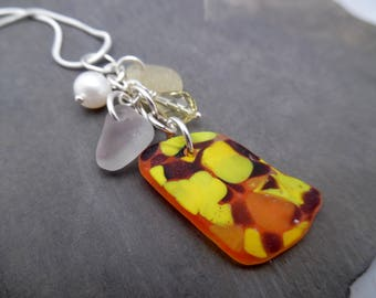 Rare Yellow Sea Glass Necklace Jewelry Orange Purple Beach English Sea Glass Sterling