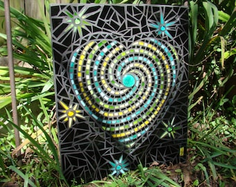 Stained Glass Mosaic Swirled Heart and Stars Wall Art