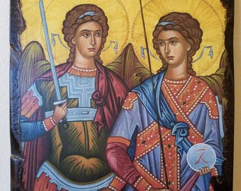 Archangelos Michael and Gavriel. Handmade wooden, crafted, antiquated icon.