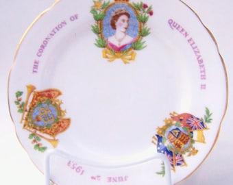 Vintage Queen Elizabeth II Coronation Royal Stafford Plate