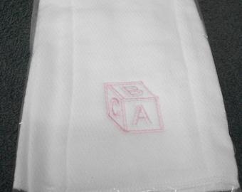 Pink ABC Block Baby Burp Cloth