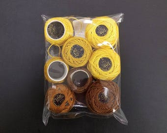 DMC Size 5 Perle Threads in yellow, brown shades - for embroidery, cross stitch