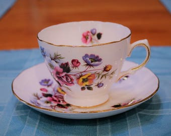 Royal Vale Bone China Teacup and Saucer Duo