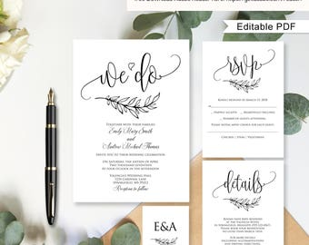 Wedding Invitation Template, Wedding Invitation Suite, Calligraphy Wedding Invitation Template, We Do, #A045, Instant Download, Editable PDF