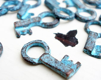 Patina Key Charms, Pack of 10, Greek Beads, Mykonos Beads