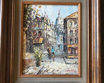 Vintage Oil Painting of Paris Street