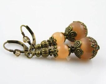 Cats Eye Earrings, Cats Eye Jewelry, Cat's Eye Jewelry, Orange Earrings, Beaded Earrings, Bronze Earrings, Bronze Jewelry, E1910