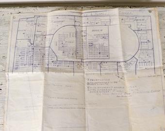 San Bruno Naval Base Blueprint, Vintage Blueprint U.S. Naval Advance Base, San...