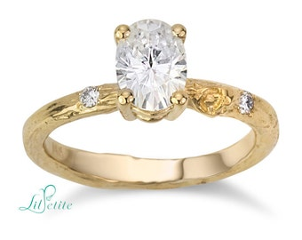 oval Forever One moissanite twig engagement ring