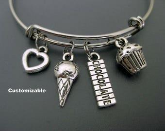 Chocolate Bracelet / Chocolate Bangle / Chocolate Lover / Sweet Tooth Bangle / Adjustable Charm Bracelet  / Cupcake and Ice Cream Bracelet /