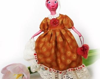 Miniature bunny figurine, handmade bunny doll, orange bunny, rabbit ornament, easter bunny, Christmas souvenir - 7 inch