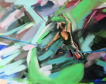 "Flight - Slackline Painting, high quality print 5.5x7.5"""