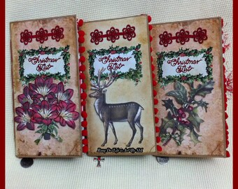 "3 ""Christmas List"" Travelers Notebook (TN) Junk Journal Inserts (Midori/Fauxdori) (Tsunami Rose)"